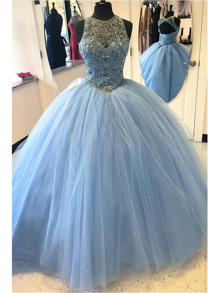Light Sky Blue Prom Dresses Scoop Floor Length Rhinestone