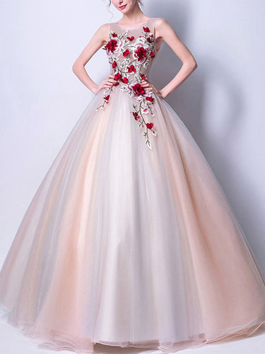 Beautiful Prom Dresses Scoop Floor-length Ball Gown Chic Prom Dress/Evening Dress JKL282