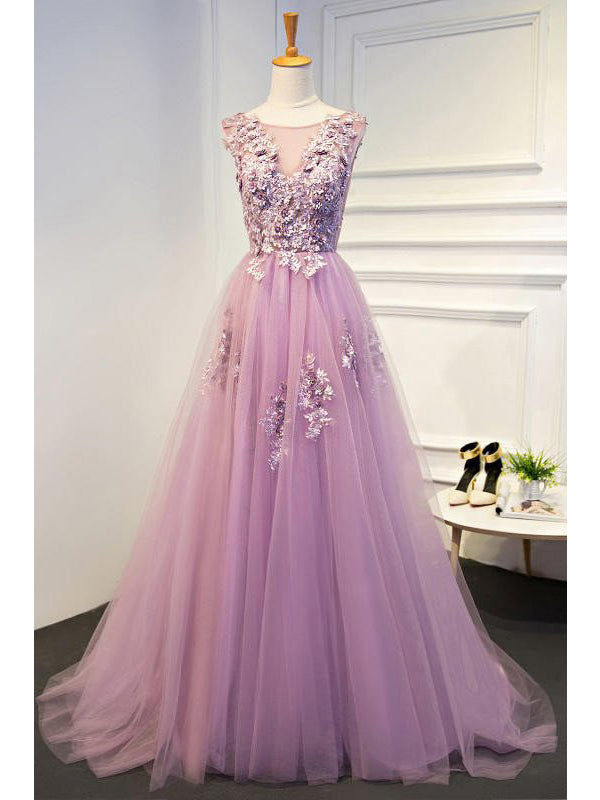 Chic Prom Dresses A-line Scoop Short Train Lilac Prom Dress/Evening Dress JKL287