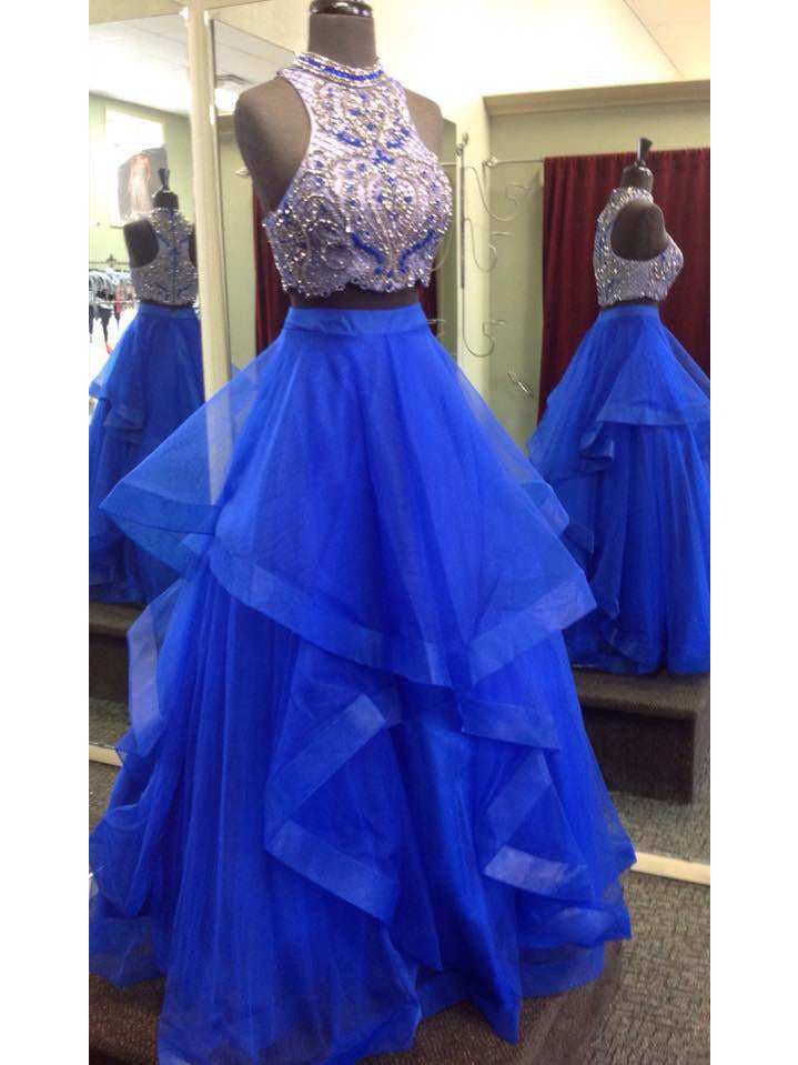 cad79307ab5 Two Piece Prom Dresses High Neck Floor-length Royal Blue Tulle Prom Dress  Evening