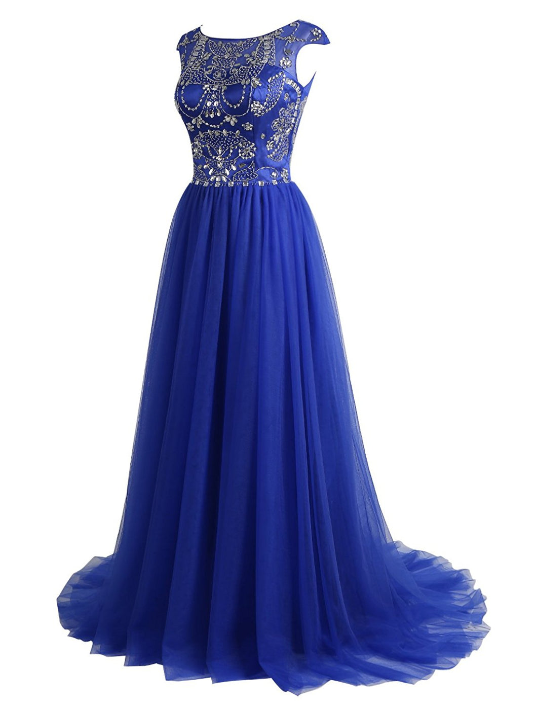 Sexy Prom Dresses Scoop Sweep/Brush Train Royal Blue Tulle Prom Dress/Evening Dress JKL289