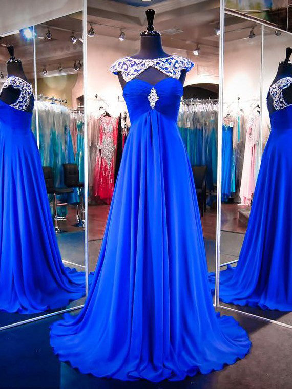 Chic Prom Dresses Bateau Sweep/Brush Train Chiffon Royal Blue Prom Dress/Evening Dress JKL291