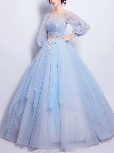 Beautiful Prom Dress Scoop Floor-length Appliques Light Sky Blue Prom Dress/Evening Dress JKL292