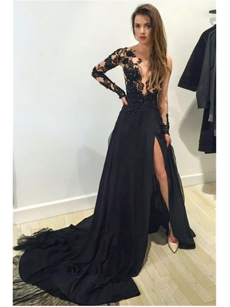Sexy Black Prom Dresses Scoop Sweep/Brush Train Slit Prom Dress/Evening Dress JKL295