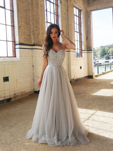 Chic Silver Prom Dresses Spaghetti Straps A-line Long Prom Dress/Evening Dress JKL296