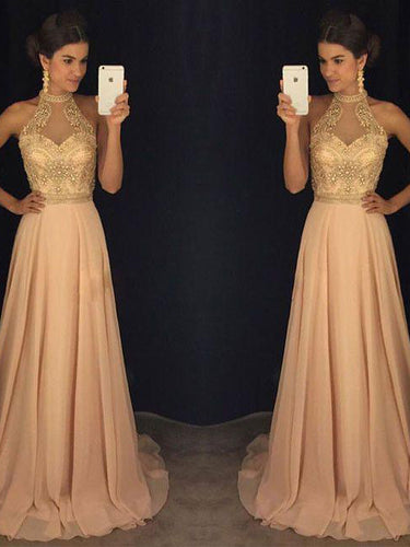 Sexy Prom Dresses High Neck Rhinestone Chiffon Long Prom Dress/Evening Dress JKL297