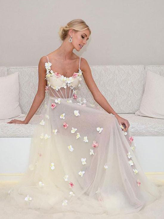 Beautiful Prom Dresses A-line Floor-length Hand-Made Flower Sexy Prom Dress/Evening Dress JKL298
