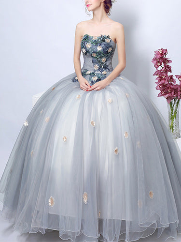 Chic Prom Dresses Strapless Floor-length Appliques Chic Prom Dress/Evening Dress JKL299