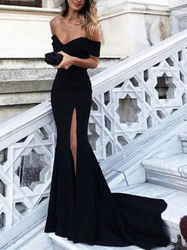 Sexy Prom Dresses Off-the-shoulder Sheath/Column Long Black Prom Dress/Evening Dress JKL300