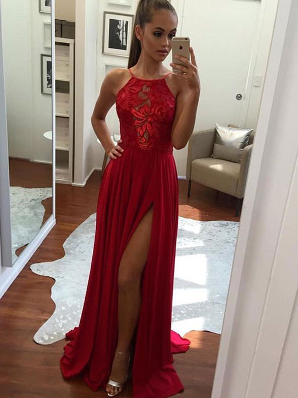 3cf157dd0823 Cheap Prom Dresses Halter A-line Short Train Sexy Red Lace Prom Dress  Evening