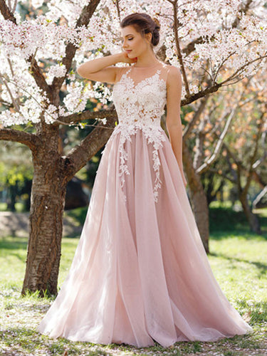 Chic Prom Dresses A-line Sweep/Brush Train Pink Sexy Prom Dress/Evening Dress JKL305