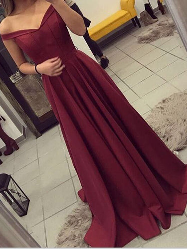 Burgundy Prom Dresses A-line Off-the-shoulder Sexy Long Prom Dress/Evening Dress JKL306