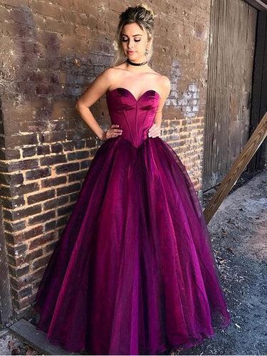 Fuchsia Prom Dresses A-line Floor-length Sweetheart Sexy Prom Dress/Evening Dress JKL311|Annapromdress