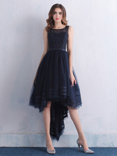 High Low Prom Dresses A-line Scoop Asymmetrical Cheap Prom Dress/Evening Dress JKL315