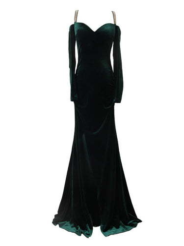 Sexy Prom Dresses Sheath/Column Sequins Velvet Hunter Long Prom Dress/Evening Dress JKL319