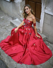 Red Long Prom Dresses Strapless Floor-length Satin Sexy Prom Dress/Evening Dress JKL320