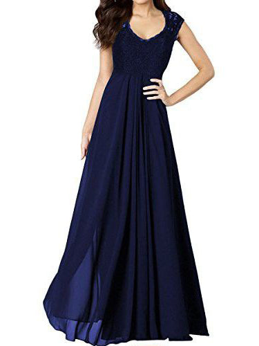 Cheap Lace Prom Dresses Floor-length Scoop Dark Navy Long Prom Dress/Evening Dress JKL327