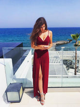 Two Piece Prom Dresses Burgundy Spaghetti Straps Sexy Cheap Prom Dress/Evening Dress JKL337