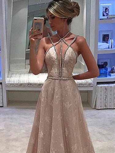 Sexy Prom Dresses Spaghetti Straps Lace A-line Halter Long Prom Dress/Evening Dress JKL341