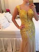 Chic Prom Dresses Sheath/Column Floor-length Rhinestone Sexy Prom Dress/Evening Dress JKL342