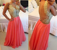 Long Prom Dresses A-line Floor-length Beading Watermelon Sexy Prom Dress/Evening Dress JKL343