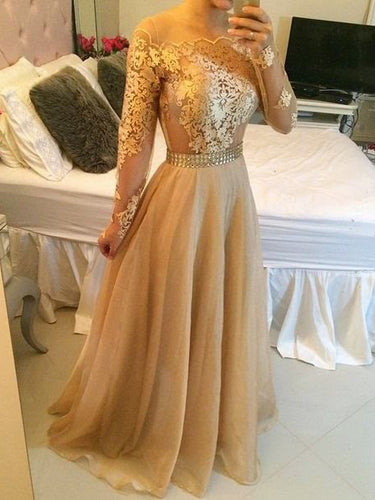 Sexy Prom Dresses A-line Floor-length Organza Long Sleeve Prom Dress/Evening Dress JKL344