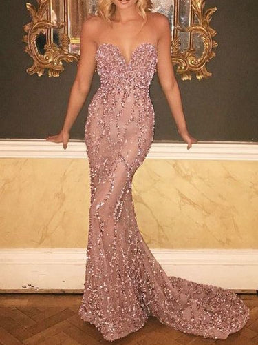 Sexy Prom Dresses Sweetheart Trumpet/Mermaid Short Train Prom Dress/Evening Dress JKL346|Annapromdress
