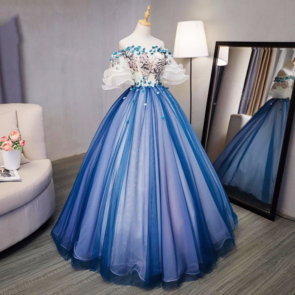 Ball Gown Prom Dresses Royal Blue and Ivory Hand-Made Flower Prom ...