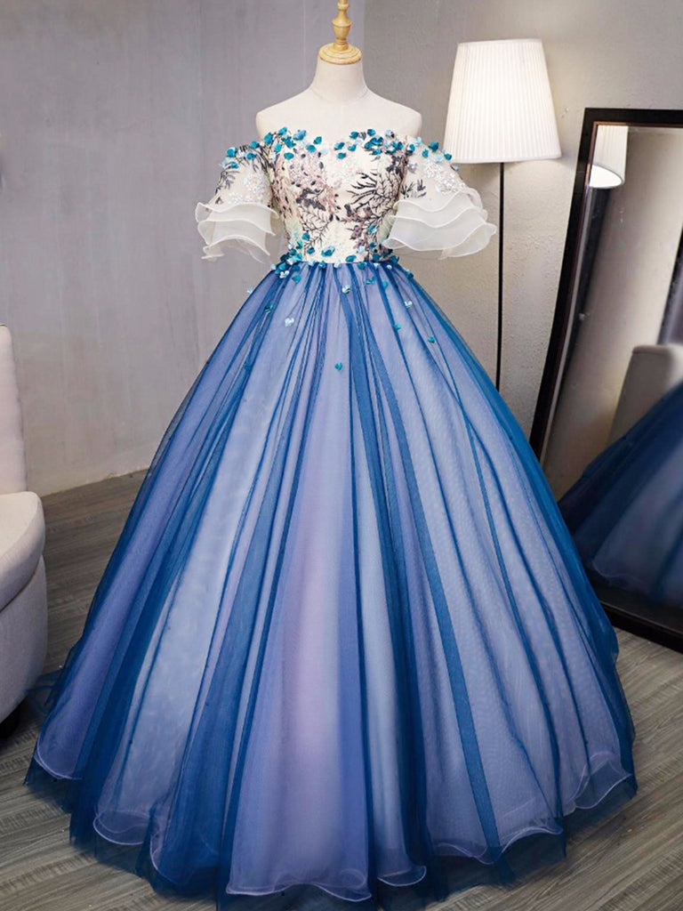 Ball Gown Prom Dresses Royal Blue and Ivory Hand-Made ...