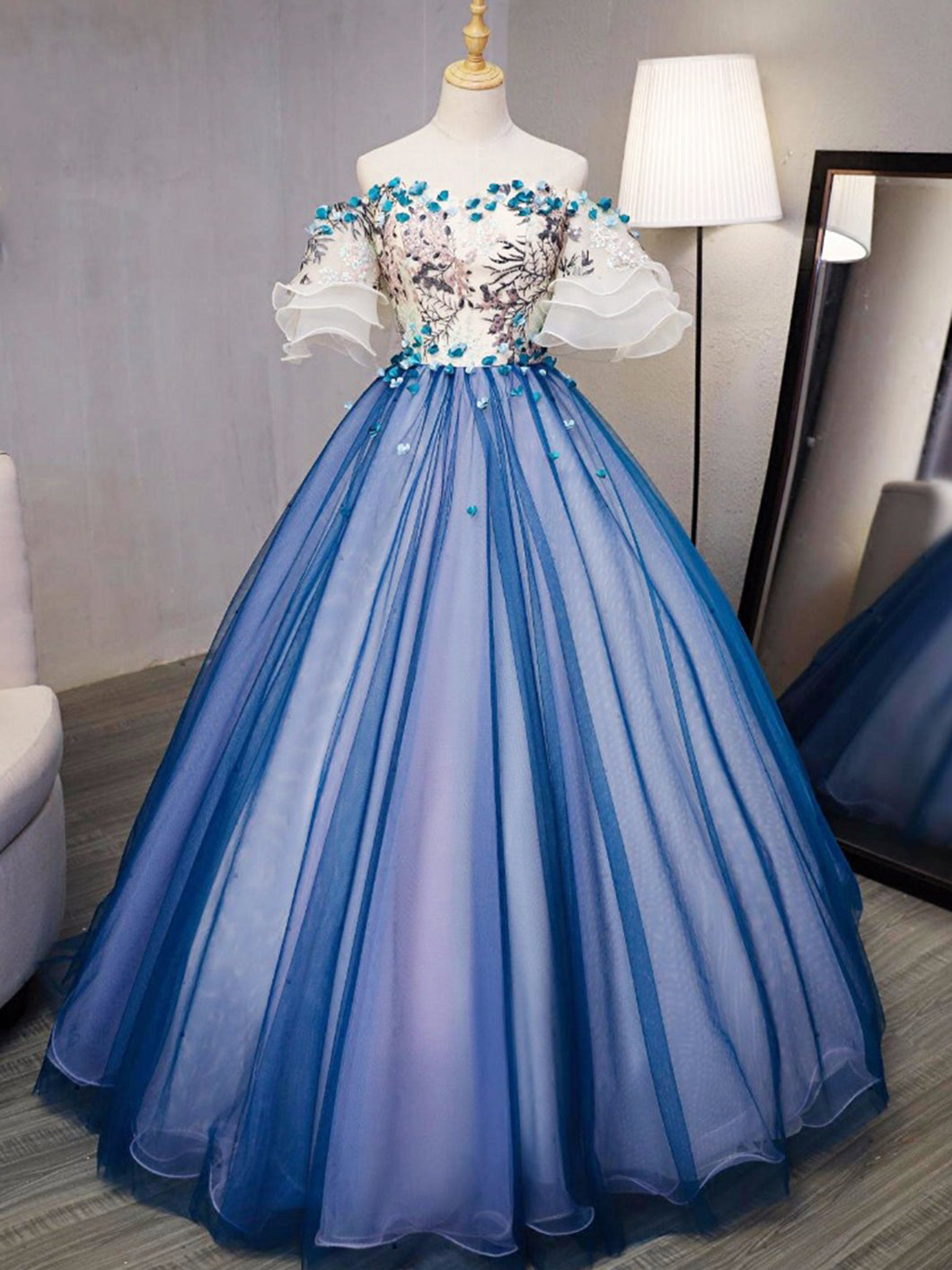Ball Gown Prom Dresses Royal Blue and Ivory Hand-Made Flower Prom Dress/Evening Dress JKL348
