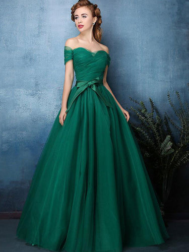 Hunter Green Prom Dresses A-line Off-the-shoulder Sexy Cheap Prom Dress/Evening Dress JKL349