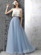 Two Piece Prom Dresses Lace A-line Sweep/Brush Train Prom Dress/Evening Dress JKL353