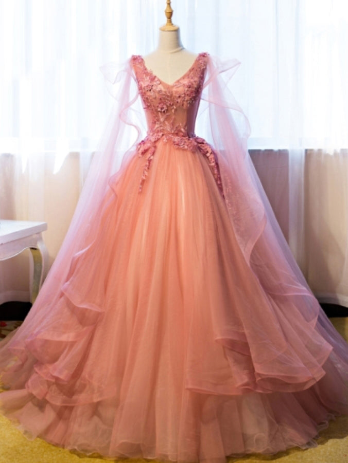 Beautiful Prom Dresses Ball Gown Floor-length V-neck Sexy Prom ...