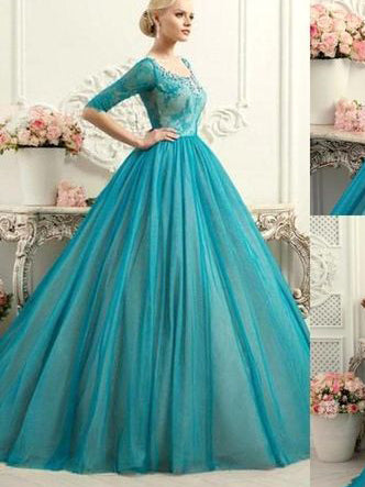 Ball Gown Prom Dresses Scoop Sweep/Brush Train Tulle Lace Prom Dress/Evening Dress JKL358