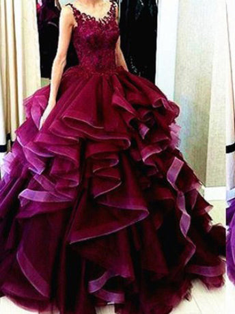 Chic Prom Dresses Ball Gown Floor-length Tulle Sexy Prom Dress/Evening Dress JKL362
