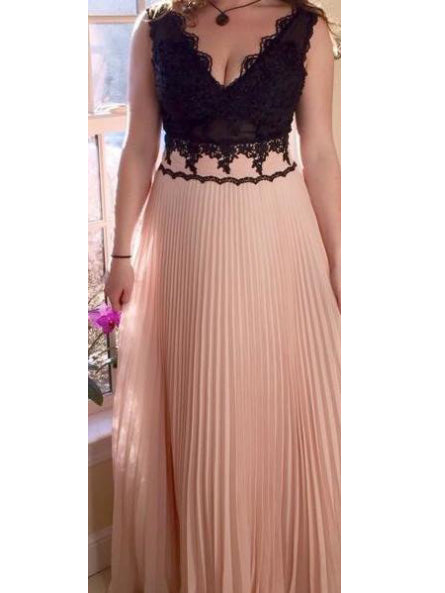 Chic Prom Dresses V-neck Floor-length Lace Sexy Prom Dress/Evening Dress JKL367