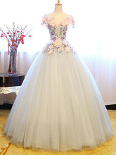 Ball Gown Prom Dresses Floor-length Appliques Lace-up Beautiful Prom Dress/Evening Dress JKL375