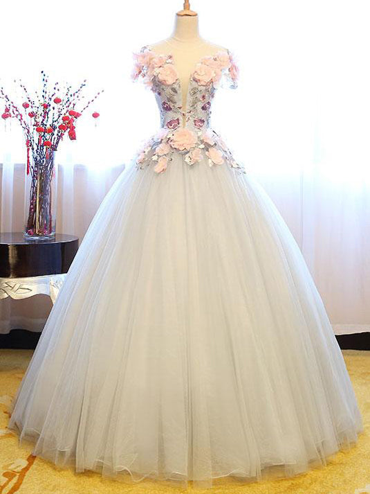 Ball Gown Prom Dresses Floor-length Appliques Lace-up Beautiful Prom ...