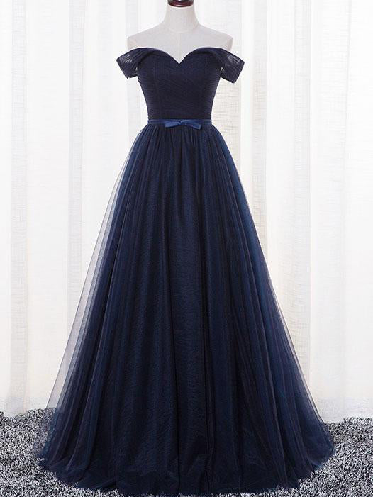 Cheap Prom Dresses A-line Floor-length Ruffles Dark Navy Prom Dress/Evening Dress JKL376
