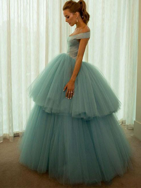 Chic Prom Dresses Off-the-shoulder Floor-length Ball Gown Prom Dress/Evening Dress JKL378