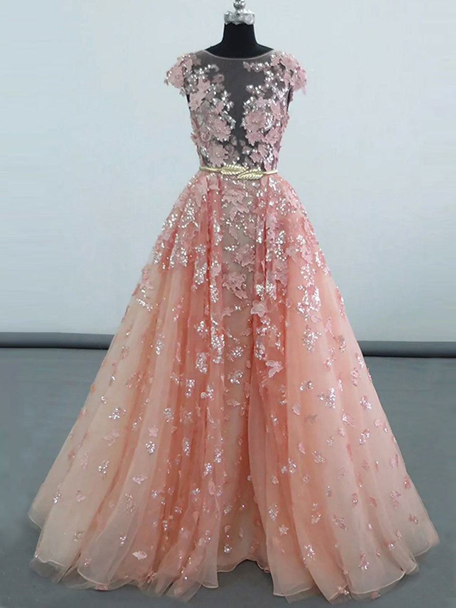 Luxury Prom Dresses Scoop Short Train Pearl Pink Chic Prom
