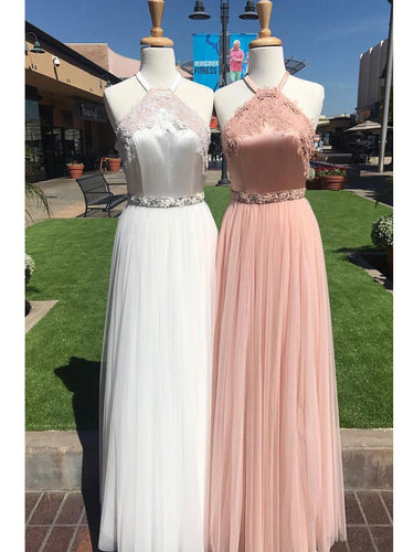 Chic Prom Dresses Halter Floor-length Tulle Lace Prom Dress/Evening Dress JKL383