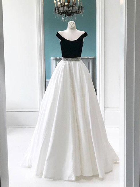 Cheap Prom Dresses Off-the-shoulder Floor-length Black and White Prom Dress/Evening Dress JKL384