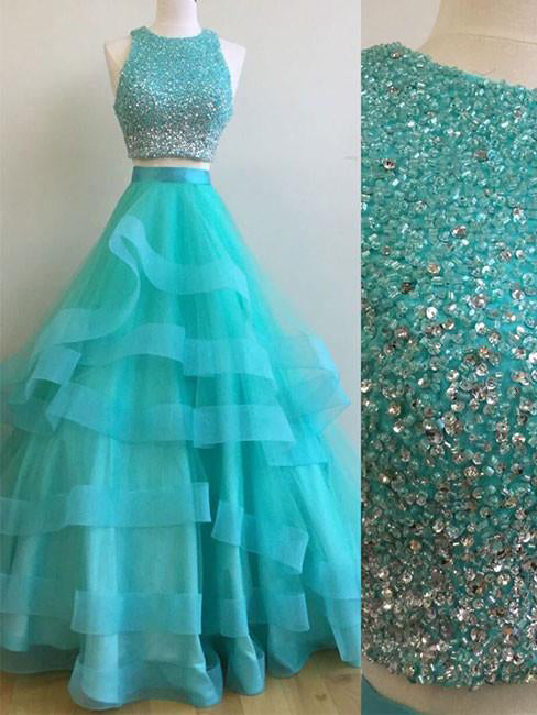 Two Piece Prom Dresses Scoop Floor-length Tulle Sexy Prom Dress/Evening Dress JKL389