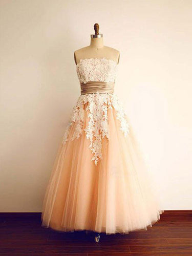 Vintage Prom Dresses Strapsless Floor-length Lace Sexy Prom Dress/Evening Dress JKL391