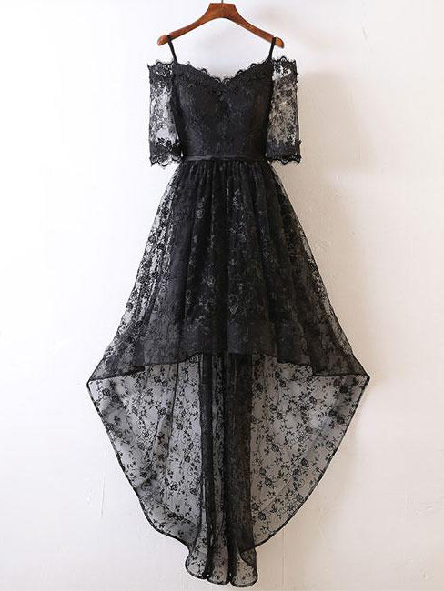 Black High Low Prom Dresses Off-the-shoulder Lace Prom Dress/Evening Dress JKL392