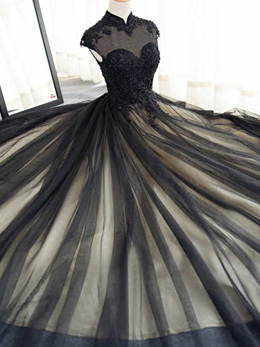 Black Prom Dresses High Neck Sweep/Brush Train Rhinestone Prom Dress/Evening Dress JKL394