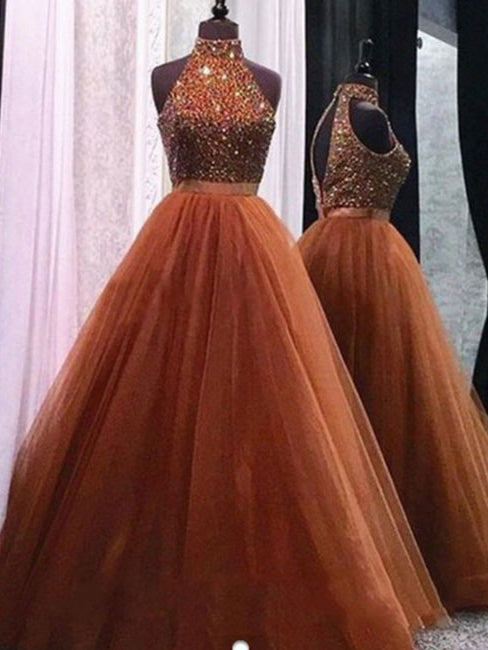 Ball Gown Prom Dresses Floor-length Beading High Neck Beautiful Prom ...