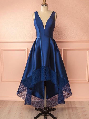 High Low Prom Dresses A-line Royal Blue V-neck Chic Prom Dress/Evening Dress JKL398