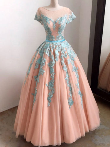 Ball Gown Prom Dresses Scoop Appliques Floor-length Prom Dress/Evening Dress JKL403
